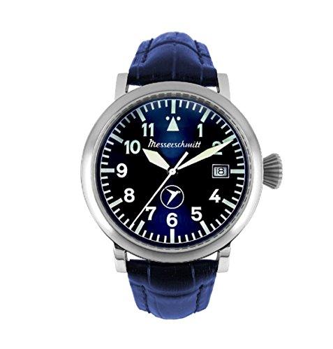 Messerschmitt Herren Fliegeruhr BF 108 blau Lederarmband Sammleruhr Uhr