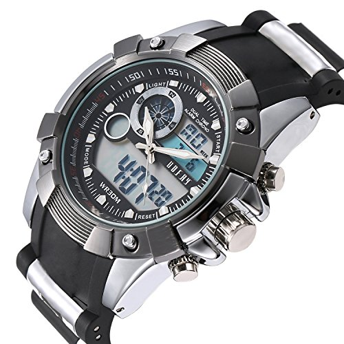 OOFAY Herren Multifunktionale Military Style Dual Time Datum Chronograph Alarm Analog