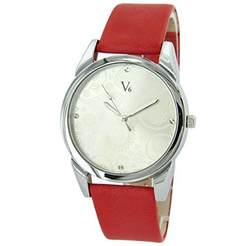 V6 Uhren Damen mit Leder rot V6 1930