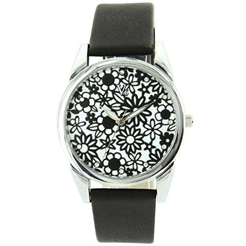 V6 Uhren Damen Fun Leder schwarz V6 1928
