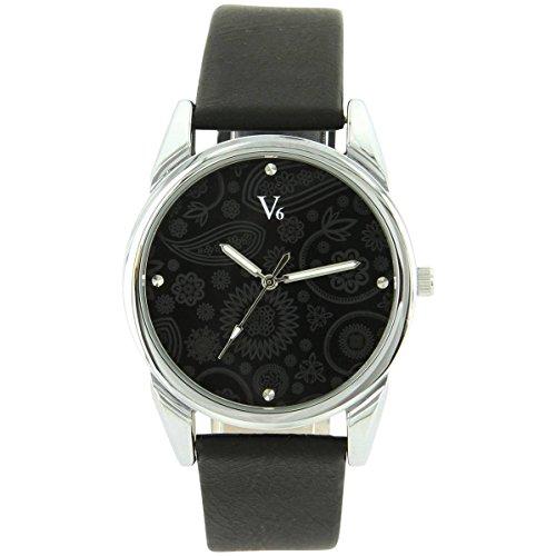 V6 Uhren Damen Leder schwarz V6 1936