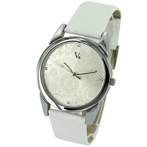V6 Uhren Damen Jolie Leder Weiss V6 1945