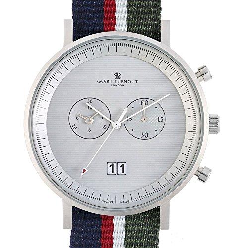 Smart Turnout Herren Quarz Uhr mit Phantom Silber Zifferblatt Chronograph Anzeige und Marineblau Nylon Gurt STF2 56 W ARG