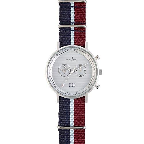 Smart Turnout Herren Quarz Uhr mit Phantom Silber Zifferblatt Chronograph Anzeige und Marineblau Nylon Gurt STF2 56 W RAF