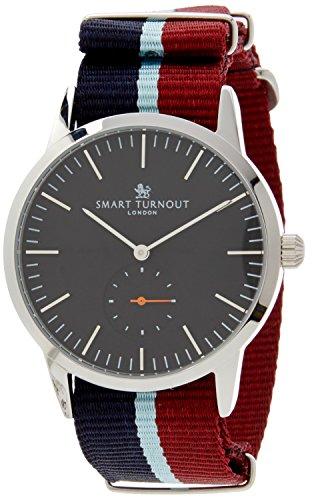 Smart Turnout Signature Herren Quarz Uhr mit schwarzem Zifferblatt Analog Anzeige und Marine Nylon Gurt STK3 BK 56 w raf