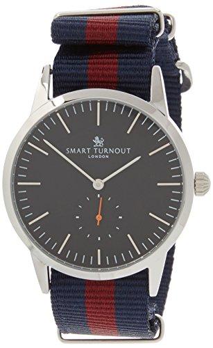 Smart Turnout Signature Herren Quarz Uhr mit schwarzem Zifferblatt Analog Anzeige und Marine Nylon Gurt STK3 BK 56 w hd