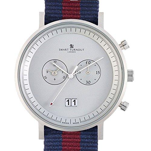 Smart Turnout Herren Quarz Uhr mit Phantom Silber Zifferblatt Chronograph Anzeige und Marineblau Nylon Gurt STF2 56 W X490