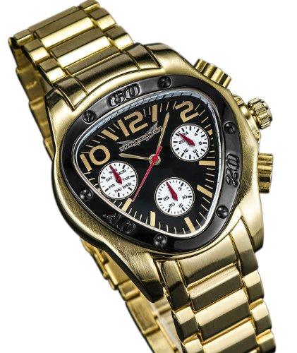 Gold Ton Armband Dreieck Gesicht Bchwarz Zifferblatt Multifunktions 24 Stunde Tag Datum Sarastro AQ202493G