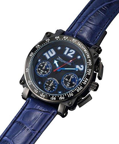 Sarastro Chronograph blau Lederband grosses Gesicht AQ201856G
