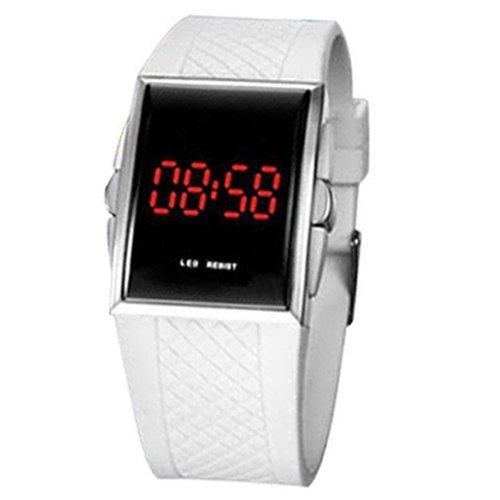 Herren Damen Unisex Weiss Schwarz LED Digital Sport Armbanduhr Weiss
