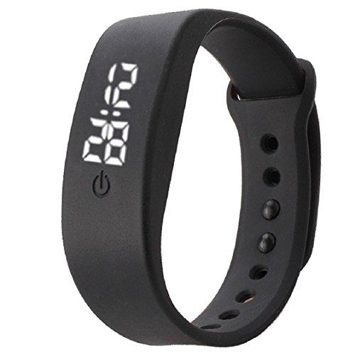 Vovotrade Damen Herren Gummi LED Uhr Datum Sports Armband Schwarz