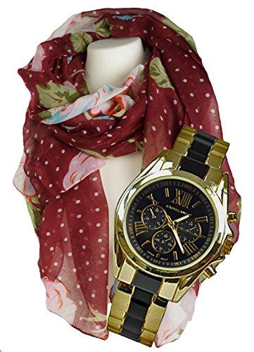 Geschenk Set Armbanduhr Spangenuhr Set mit feinem Damenschal