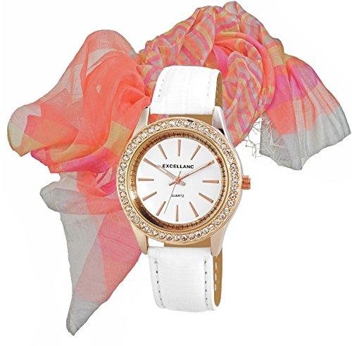Modische rose gold im Set mir Seidenschal Armbanduhr Edel mit Strass Crystal Besatz