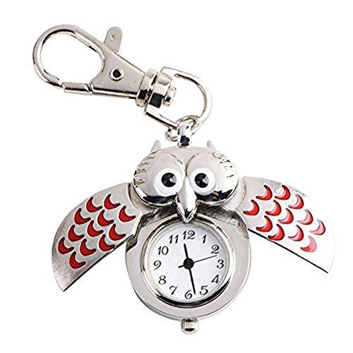 Lath Pin Cute Eule Schluesselanhaenger Edelstahl Fall Quarz Pocket Uhren Uhr Rot