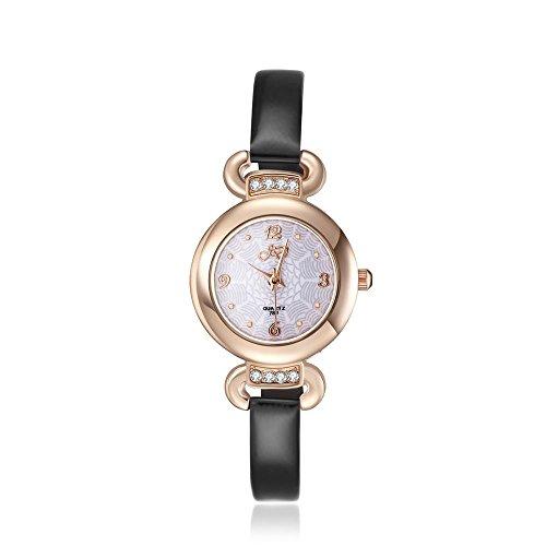 2016 Top Mode Korea Stil Schwarz Klein Gurt Band Armbanduhr fuer Damen