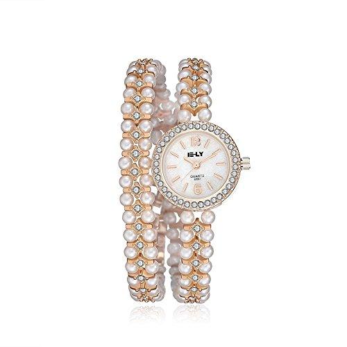 Tidoo Marke Damen Armband Uhr Luxus Gold Ton Band weiss nichthaarenden Perlen Aufziehen Armbanduhr