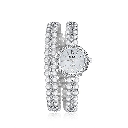 Tidoo Marke Uhren Gorgeous Kristall Silber Tone Weiss Perlen Aufziehen Kleid Armbanduhr