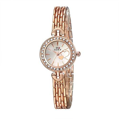Tidoo Marke Uhren fuer Damen kleine Rose Gold Ton Band Quarz Uhrwerk Analog Kleid Armbanduhr