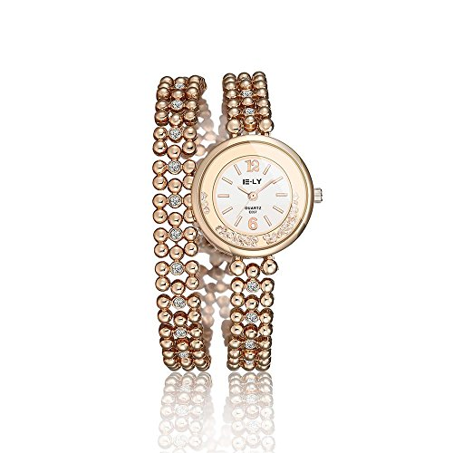 Tidoo Uhren der Marke fuer Damen 2 Wind Rose Gold Ton Perlen Armband Armbanduhr