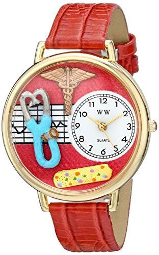 Drollige Uhren Nurse 2 rote Womens Gold Quarz Uhr mit weissem Zifferblatt Analog Anzeige und Lederband G 0620053