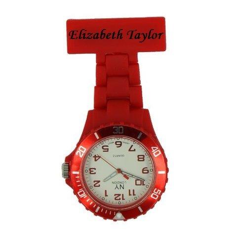 Personalisierte Prince NY London weiss Silikon Gummi Kunststoff Krankenschwester Taschenuhr Krankenschwester Brosche IN ROT Farbe