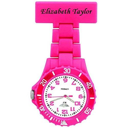Personalisierte Prince NY London weiss Silikon Gummi Kunststoff Krankenschwester Taschenuhr Krankenschwester Brosche IN ROSA Farbe