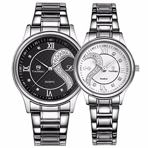 Fq 102 Armbanduhren Set fuer Sie und Ihn Edelstahl Romantisches Uhren Paar Uhren fuer Maenner Frauen schwarz und weiss 2 Stueck