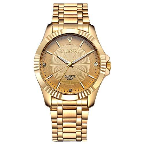 fq 005 Design Golden Vergoldung Edelstahl mit Diamanten Herren Classic Handgelenk Uhren fuer Mann Gold