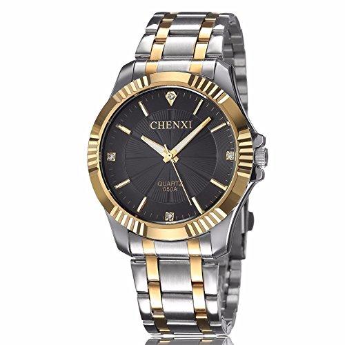 fq 005 Silber Edelstahl Golden Classic Style Herren Handgelenk Uhren mit Diamanten fuer Mann schwarz
