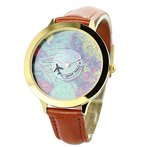 Mini Welt Marke fq 001 World Map Design Braun Synthetik Leder Damen Quarz Handgelenk Uhren