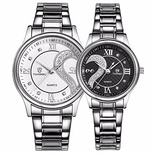 tiannbu fq 102 Edelstahl Romantische Paar HIS und HERS Handgelenk Uhren fuer Maenner Frauen WB Set von 2