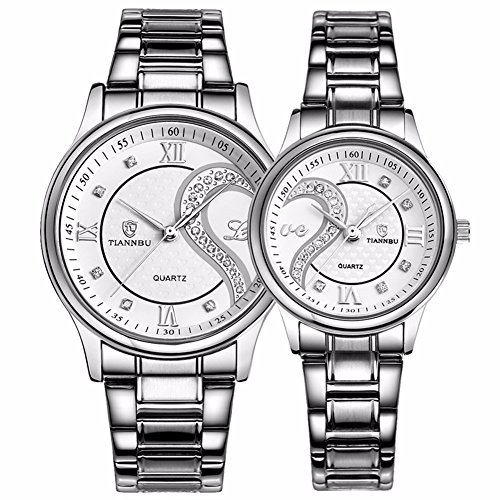 tiannbu fq 102 Edelstahl Romantische Paar HIS und HERS Handgelenk Uhren fuer Maenner Frauen Weiss Set von 2