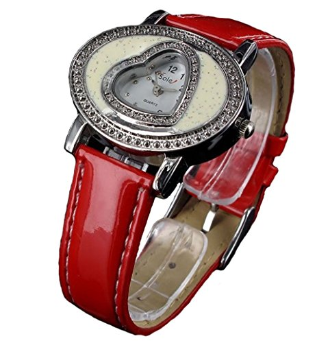 Sole rote Love Herzuhr Armbanduhr Analoge Leder