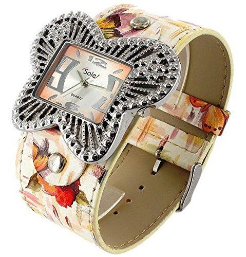 Sole Damen Schmetterling Uhr analoge Armbanduhr mit breiten Pu Leder Armband