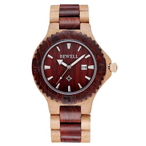 Bewell Luxus Auto Datum Ahornholz Uhren Herren Fashion Retro Holz Quarz Armbanduhr Zeit Stunde Stecker Relojes