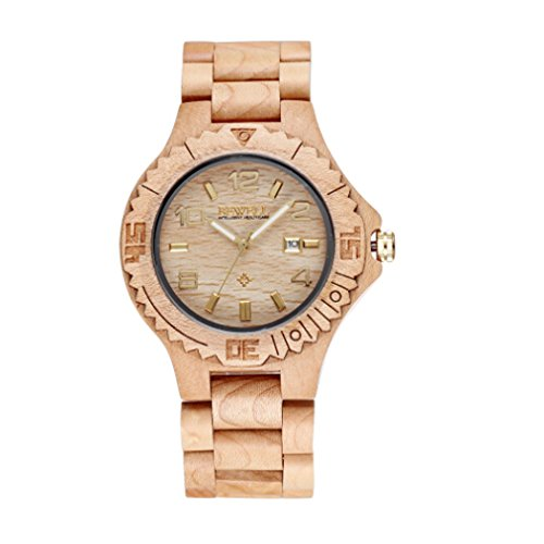 Bewell Luxus Auto Datum Ahornholz Uhren Herren Fashion Retro Holz Zeit Stunde Stecker relojes gold Haende