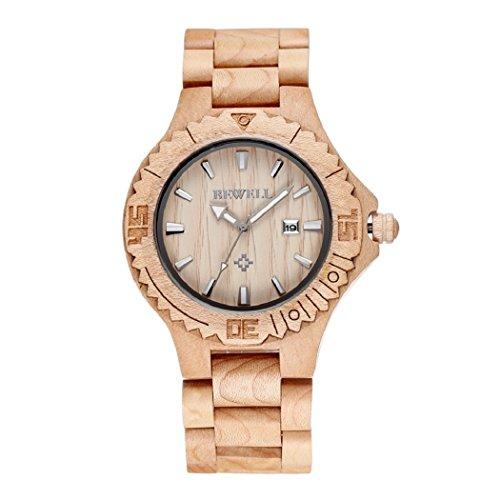 Bewell Luxus Auto Datum Ahornholz Uhren Herren Fashion Retro Holz Zeit Stunde Stecker relojes silver Haende
