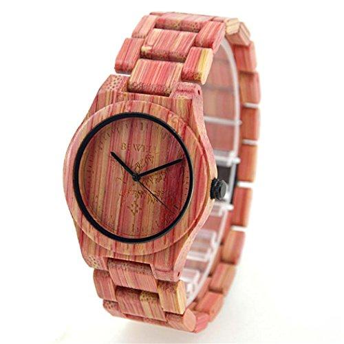 Bewell Quarz Pink Colorful Bambus Holz Armbanduhr Japan Bewegung Wasserdicht Armbanduhren