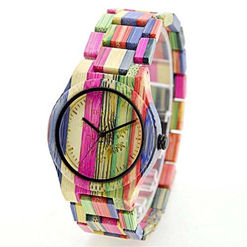 Bewell Quarz Violett Colorful Bambus Holz Armbanduhr Japan Bewegung Wasserdicht Armbanduhren