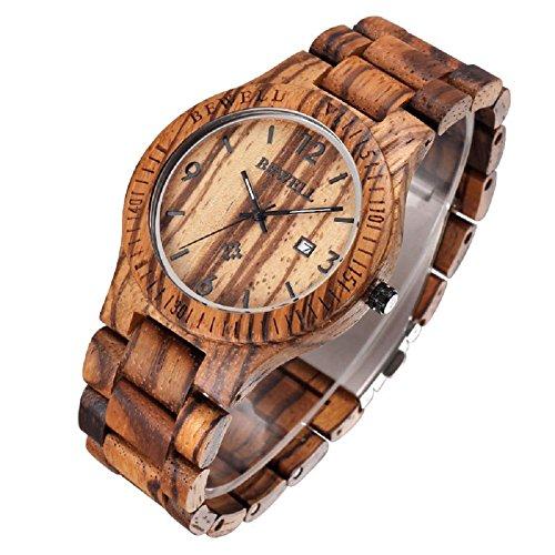 Bewell Analog Holz Armbanduhr aus Ahorn Kaffeefarben fuer Herren Quarz mit Kalender