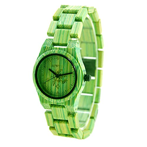Bewell Damen Holz Armbanduhr die Colorful Bambus 100 Quarz Analog watches green