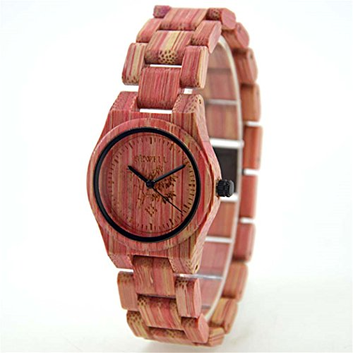 Bewell Damen Holz Armbanduhr die Colorful Bambus 100 Quarz Analog watches pink