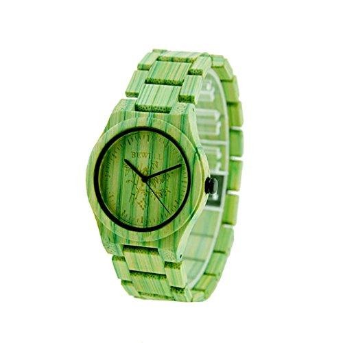 Bewell Herren Armbanduhr Quarz gruen Colorful Bambus Holz Armbanduhr Japan Bewegung waterproofwristwatches