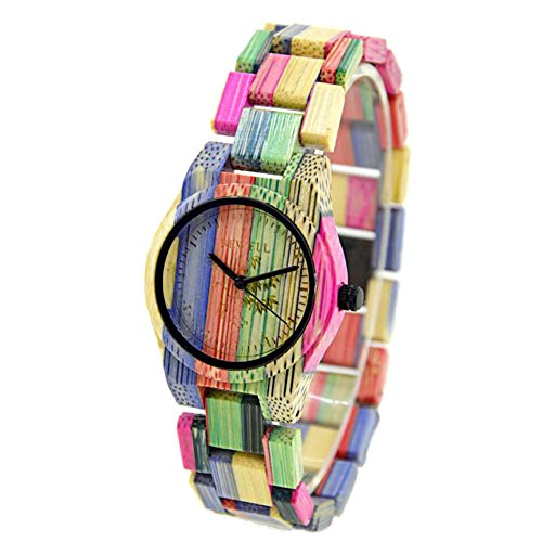 Bewell Damen Armbanduhr aus Holz zu 100 handgefertigt natuerlich und bunt Quarzuhr Lila