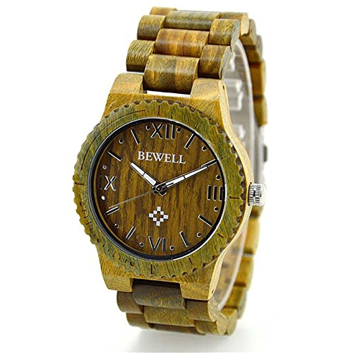Bewell Handarbeit Ahornholz Unisex Quarzuhr Herren Frauen Gruen Farbe Holz Uhren
