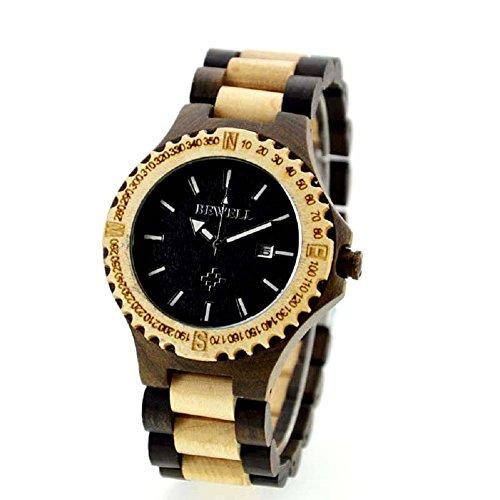 Bewell Herren Armbanduhr aus Holz mit Datumsanzeige handgefertigt aus weissem Ahornholz