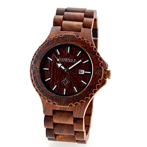 Bewell Herren Auto Datum Eco Natural handmade Ahorn Holz Uhren rot Farbe Holz Armbanduhr