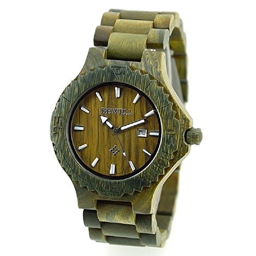 Bewell Herren Auto Datum Big Zifferblatt handgefertigt Ahorn Holz Uhren Gruen Farbe Holz Armbanduhr