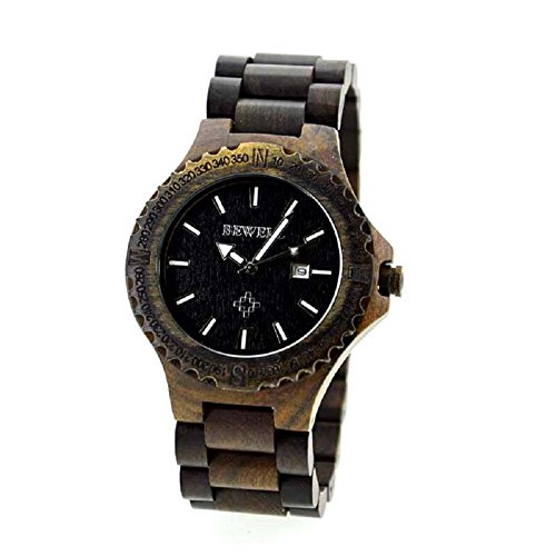 Bewell Herren Auto Datum Eco Natural handmade Ahorn Holz Uhren schwarz Farbe Holz Armbanduhr
