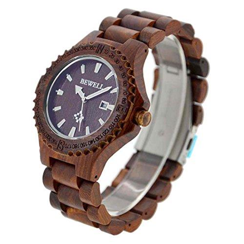 Bewell Holz Uhren fuer Maenner mit Datum Rot Sandelholz Holz Fashion Quarzuhr Vaeter Tag Geschenk rot